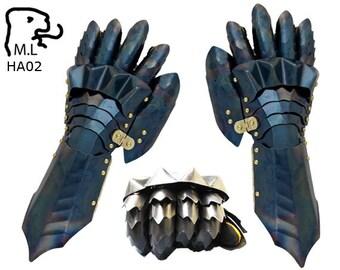 gauntlet Medieval knight steel Armor Larp Faire Gothic ha02