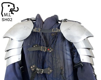 New Medieval pair of pauldron in stainless steel Armor Larp SH02