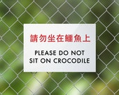 Funny Chinglish Sign Fail. Do Not Sit On Crocodile