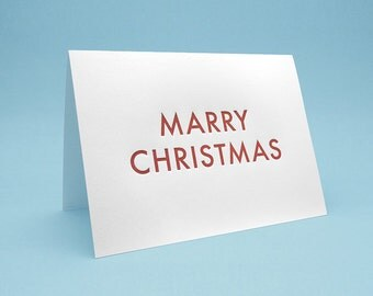 Funny Christmas Card w/ Envelope. 5x7 letterpress style. Marry Christmas