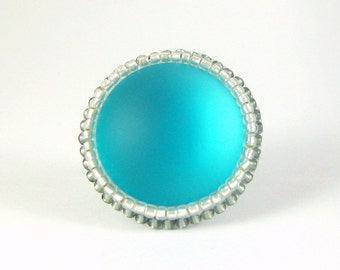FREE SHIPPING Aqua Blue Large Bead Embroidered Lunasoft Ring