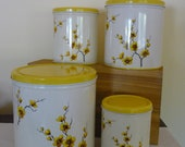 Vintage Decoware Metal Canister Set, Retro Kitchen Storage, Yellow Blossoms, Shabby Chic