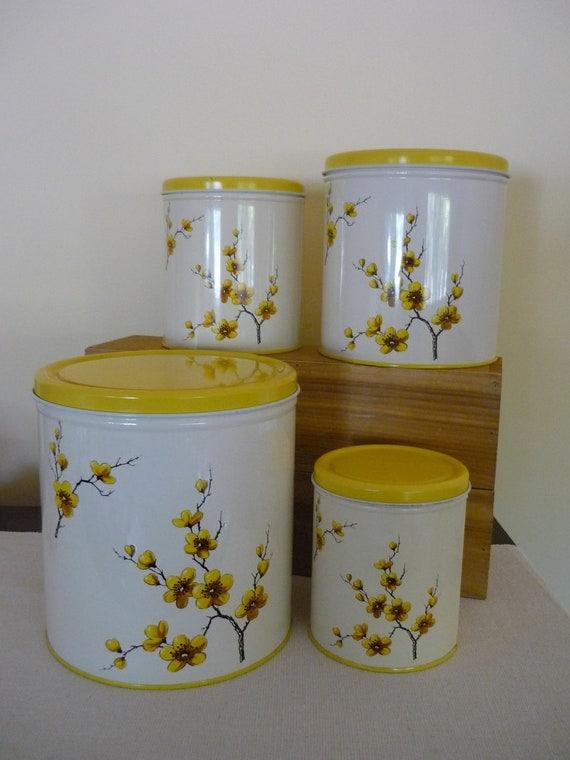 vintage decoware metal canister set retro kitchen storage yellow