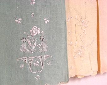 Vintage Fine Linen Pastel Tea Cloths Hand Embroidered Set Of Three