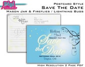 Mason Jar Firefly Lightning Bug Postcard Save The Date - DOUBLE SIDED