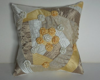 Decorative throw pillow cushion handmade roses yellow, beige, ivory patchwork quilt 14x14