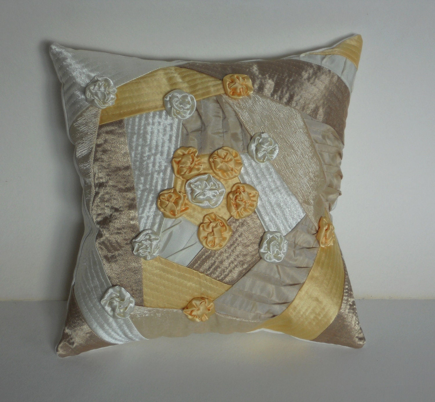 Handmade Decorative Throw Pillows : Decorative throw pillow cushion handmade roses yellow beige