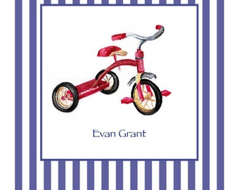 Red Tricycle Print, Personalized Print for Nursery, Kids Artwork