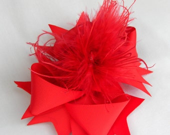 Red curly ostrich over the top boutique hair bow, girls hair bows, big hair bows for baby, toddler, little girl