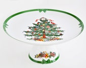 Georges Briard Yule Tide Footed Cake Plate 41446, Christmas Tree Plate, Holiday Cake Stand