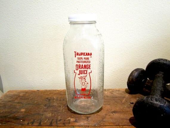 Vintage Tropicana Orange Juice Glass Bottle with Plastic Cap