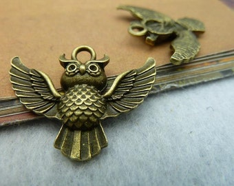20PCS antique bronze 24x30mm owl charm pendant- W2327