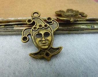 10PCS antique bronze 20x28mm clown charm pendant- WC3158