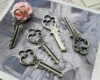20PCS antique bronze 14x38mm heart key charm pendant- WC931