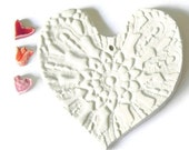 Christmas Ceramic White Heart with Organza Ribbon Wedding Decoration