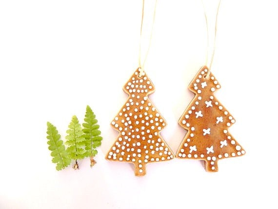 Christmas Ornaments Caramel Color Tree White Dots Set of 2 Eco Friendly Pottery