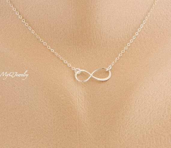 Simple Silver Infinity Necklace Bridesmaid Gift Elegant