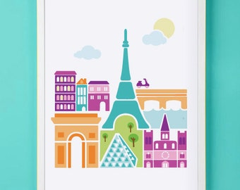 Paris France Art Print for Nursery or Children's Room Decor