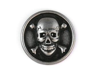 2 Skull & Bones 5/8 inch ( 15 mm ) Metal Buttons