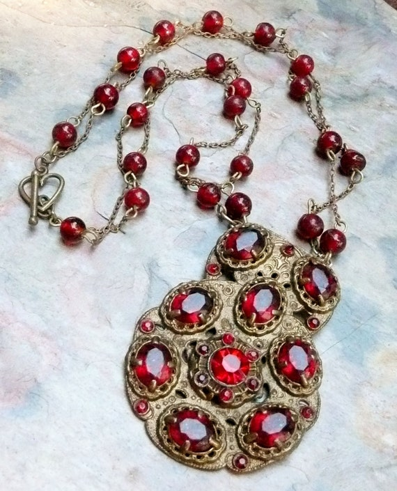 Vintage Bohemian Red Ruby Crystal Necklace, W Germany Upcycled
