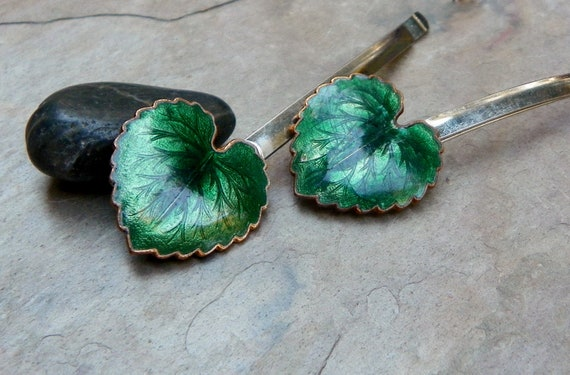 Christmas Woodland Green Leaf Enamel Bobby Pins From the Elf Queen, Galadriel