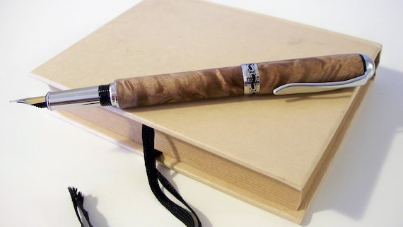 Hand-turned maple burl wooden fountain pen