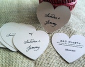 CUSTOM Kraft Heart Labels - WEDDING - Personalize - Recycled - Eco Friendly - Canning - Address - Thank You - Set of 48