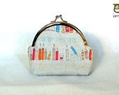 Kiss Lock Purse, kisslock, bag, small, little, coin purse, kid, children, pencils, red, yellow, flowers, japanese fabric, iammie