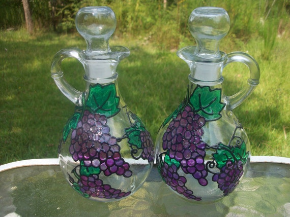 2 Painted Grapes Vinegar and Oil Glass Containers/Bottles