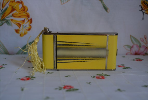 Art Deco Yellow and Silver Camera Style Compact with Lipstick and Cigarette Holder