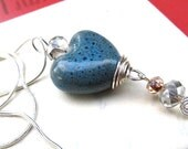 Blue Heart Necklace, Porcelain Heart Pendant With Silver Chain, Birthstone Jewelry