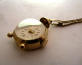 60s Vintage SOVEREIGN Alarm Clock Pendant Watch With Chain Gold EP Swiss Ladies Necklace