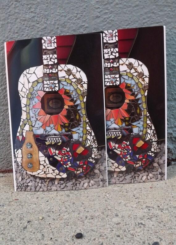 Mosaic Guitar Oversized Art postcard, Guitar Art, Guitar Home Decor, Music Decor, Folk Art Guitar Decor, Mosaic Guitar Print, Frameable art