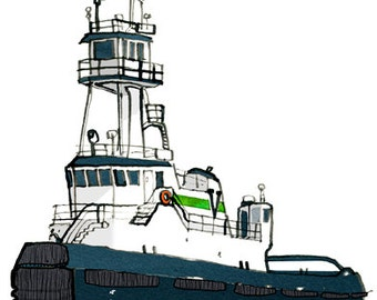 tugboat: ship print / nautical illustration
