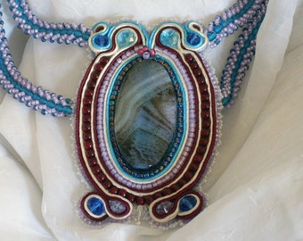 Mysterious Colorful Agate Soutache and Bead Embroidery Necklace