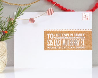 Christmas Address Labels Wraparound Mailing Labels- Apple Cider - Holiday, Cork Board, Cute, Fun, Reindeer, Front to Back, Address Labels