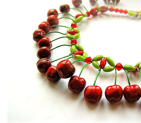 Red Cherry Necklace and Earrings Set, handmade