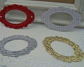 Ornate Glitter Christmas Frame, Label, Tag Gold, Silver, White, Red - QTY - 12  Embellishment, Gift Wrap, Packaging, Decor