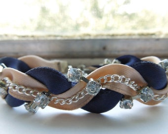 Navy Blue and Khaki Braided Ribbon & Chain Bracelet