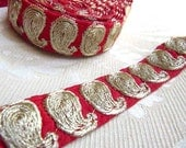 Paisley Embroidered ribbon Straight from India Trim One yard one Inch
