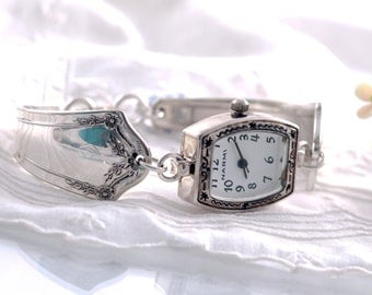 Vintage Spoon Watch -  Primrose Silverware Watch -  Oblong Quartz Spoon watch -  Spoon Watch - Silverware 1915 Spoon Watch  (mcf  W031)