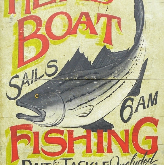 head boat fishing sign original hand painted by