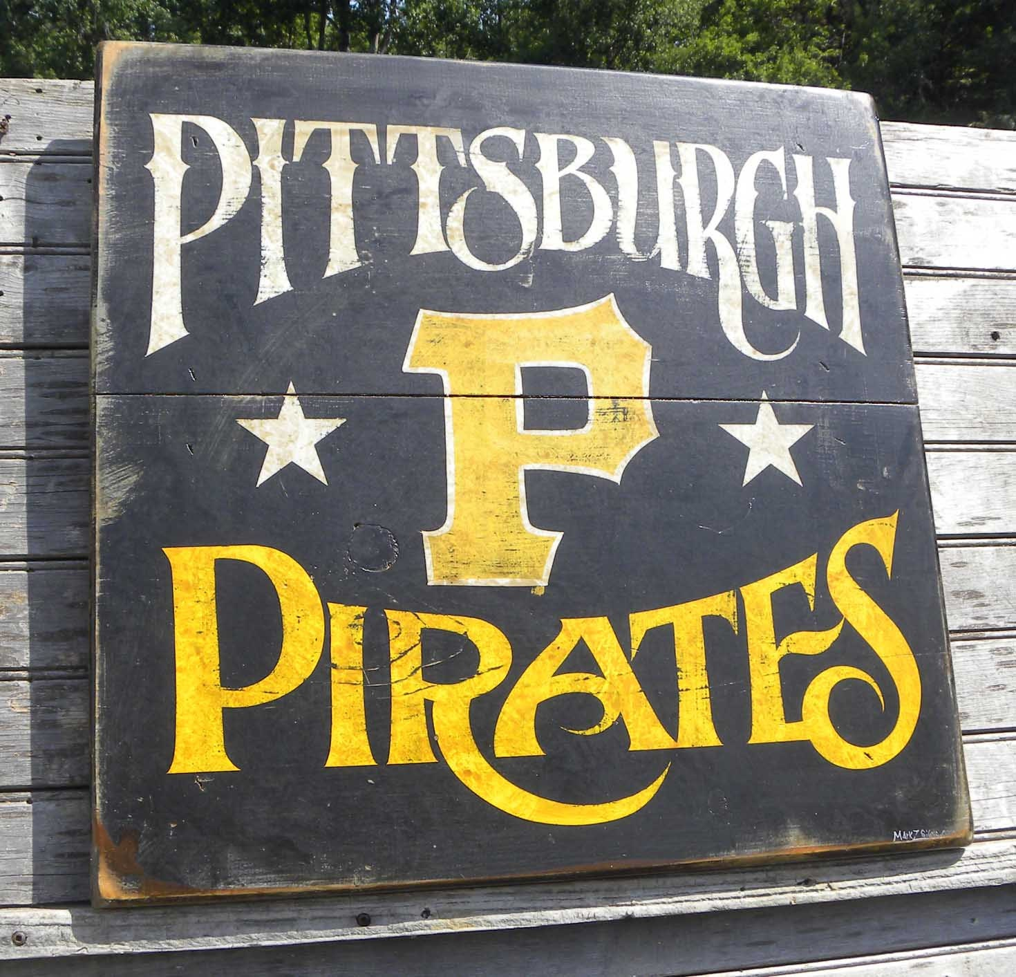 Pittsburgh Pirate Sign hand painted original art vintage