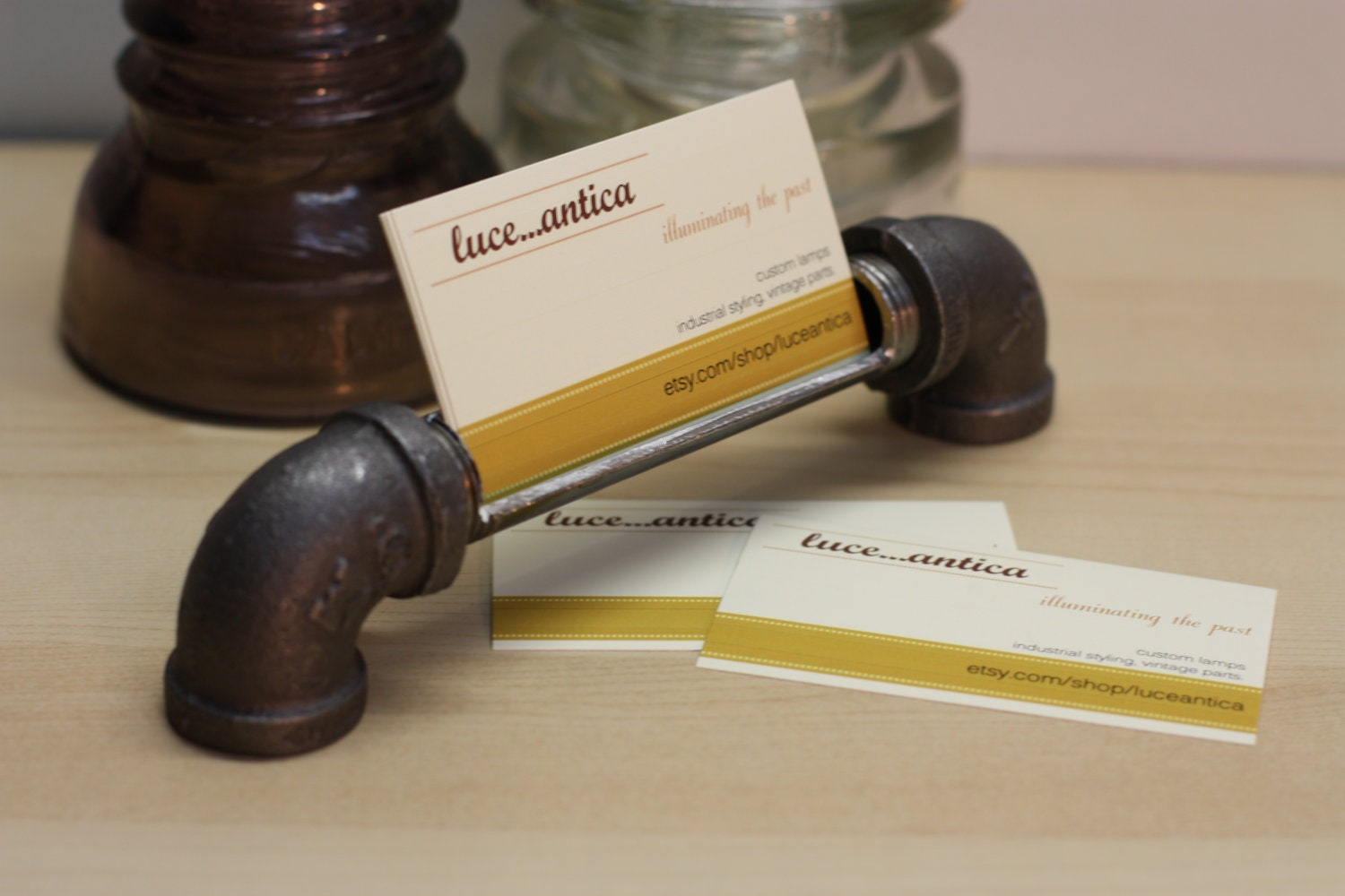 Industrial design business card holder made from iron pipe for Industrial design company