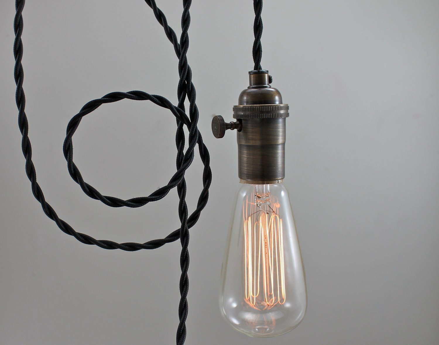 Black Modern Bare Bulb Pendant Light by GoldHeartSupply on Etsy