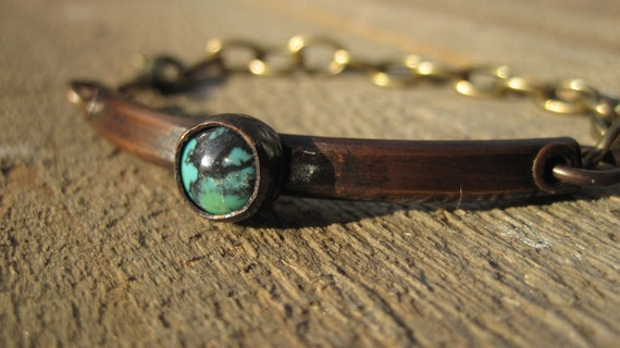 Copper & Turquoise Bracelet- Chunky Copper riveted with Brass Chain
