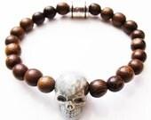 Ceramic Skull and Wooden Beads Unisex Bracelet
