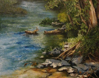 The River Bed Landscape- Giclee' of Original Oil Painting/Michigan