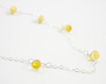 Citrine Sterling Silver Station Necklace / Semi-Precious Gemstone / November Birthstone / Summer Wedding / N1