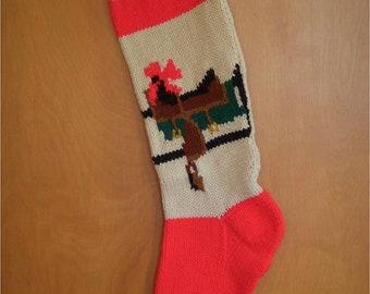 Hand-knitted Personalized Cowboy Saddle Christmas Stocking